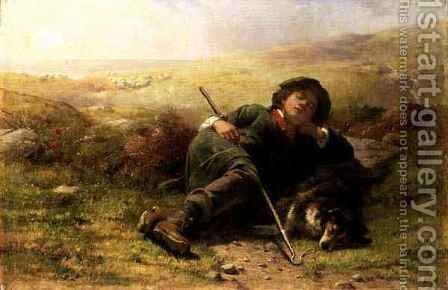 A Shepherd Boy and His Sheep Dog Neglecting Their Duty by James John Hill - Reproduction Oil Painting