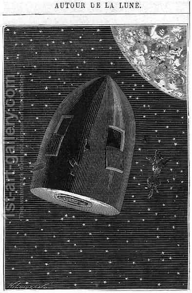 Leaving for the Moon illustration from Around the Moon by Jules Verne 1828-1905 Paris Hetzel by Henri Theophile Hildibrand - Reproduction Oil Painting