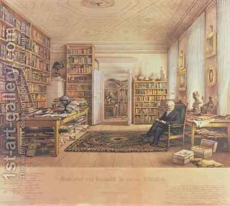 Baron von Humboldt 1769-1859 in his Library by (after) Hildebrandt, Eduard - Reproduction Oil Painting