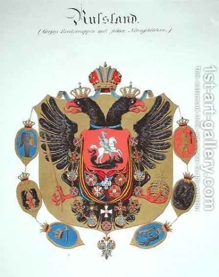 Arms and shield of the state of Imperial Russia by C. Hildebrandt - Reproduction Oil Painting