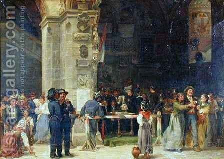 Drawing for Military Service Modern Italy by (after) Hilaire, Jean-Baptiste - Reproduction Oil Painting