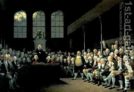 Charles James Fox 1749-1806 Addressing the House of Commons during the Pitt Ministry by Anton Hickel - Reproduction Oil Painting