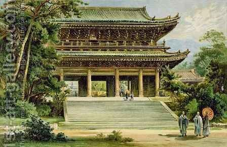 Buddhist temple at Kyoto Japan from The History of Mankind by (after) Heyn, Ernst - Reproduction Oil Painting