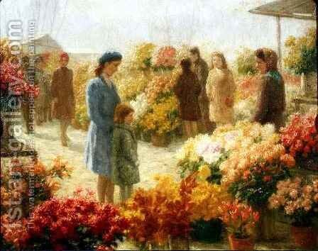 Flower Market by Hendrik Heyligers - Reproduction Oil Painting