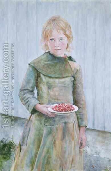 Strawberry Girl by Hans Olaf Heyerdahl - Reproduction Oil Painting