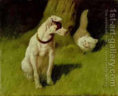 White Persian Cat and Jack Russell by Arthur Heyer - Reproduction Oil Painting