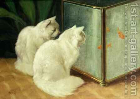 White Cats Watching Goldfish by Arthur Heyer - Reproduction Oil Painting