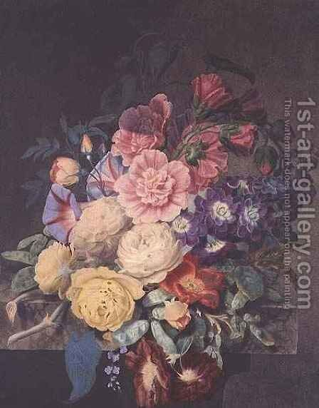 Hollyhocks and roses by James Hewlett - Reproduction Oil Painting