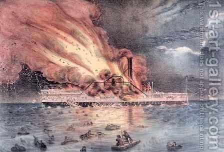 The conflagration of the steam boat Lexington in Long Island Sound by (after) Hewitt, William Keesey - Reproduction Oil Painting