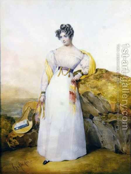 Portrait of a lady in a landscape by Henri Joseph Hesse - Reproduction Oil Painting