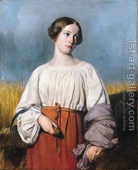 Harvester Holding her Sickle by Alexandre-Jean-Baptiste Hesse - Reproduction Oil Painting