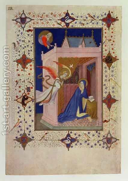 Hours of Notre Dame Matins The Annunciation from the Tres Riches Heures du Duc de Berry by Jacquemart De Hesdin - Reproduction Oil Painting