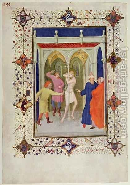 Hours of the Cross Tierce The Flagellation of Christ from the Tres Riches Heures du Duc de Berry by Jacquemart De Hesdin - Reproduction Oil Painting