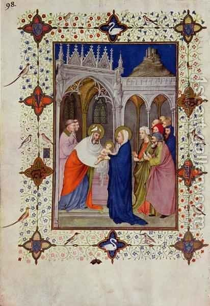 Hours of Notre Dame None The Presentation in the Temple from the Tres Riches Heures du Duc de Berry by Jacquemart De Hesdin - Reproduction Oil Painting