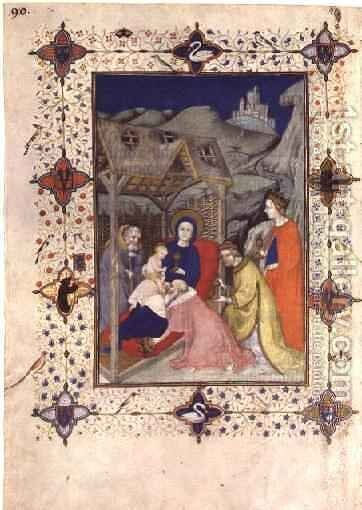 Hours of Notre Dame Sexte Adoration of the Magi from the Tres Riches Heures du Duc de Berry by Jacquemart De Hesdin - Reproduction Oil Painting