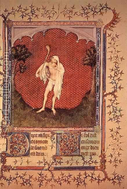 The fool from the Psalter of Jean de Berry by Jacquemart De Hesdin - Reproduction Oil Painting