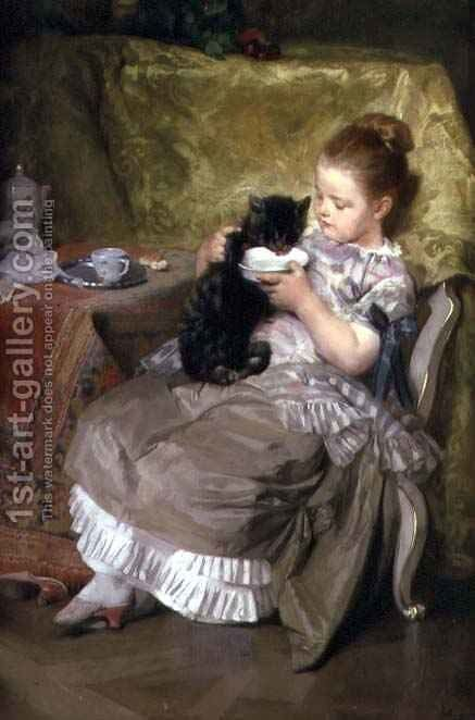 Milk for the Kitten by Johan Caspar Herterich - Reproduction Oil Painting
