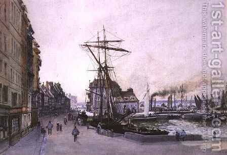 The Quay at Honfleur by Emile Antoine Francois Herson - Reproduction Oil Painting
