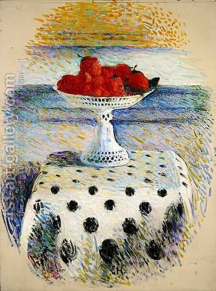 A Berlin Porcelain Bowl with Strawberries by Curt Herrmann - Reproduction Oil Painting