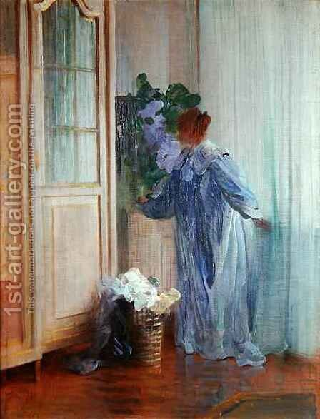 The Wife of the Painter at the Window by Curt Herrmann - Reproduction Oil Painting