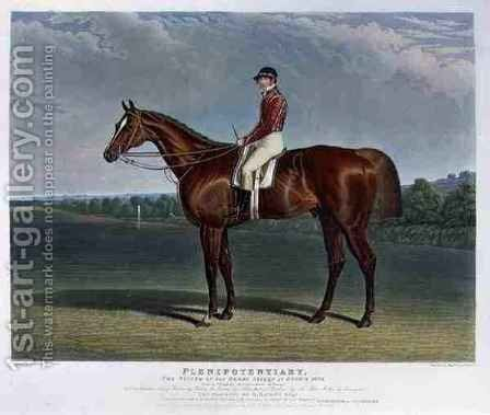 Plenipotentiary the Winner of the Derby Stakes at Epsom 1834 by (after) Herring Snr, John Frederick - Reproduction Oil Painting