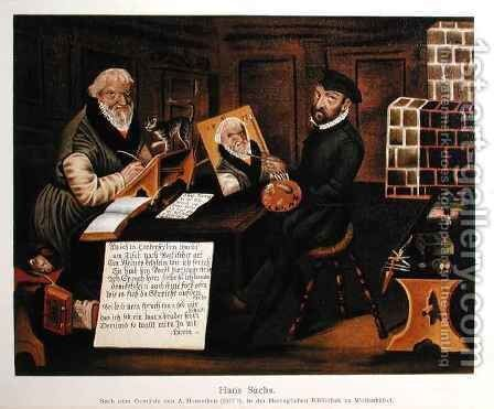 The artist at work painting Hans Sachs 1494-1576 by (after) Herneyssen, Andreas - Reproduction Oil Painting