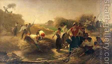 Threshing Rapeseed in the Fields of Lille by Auguste Joseph Herlin - Reproduction Oil Painting