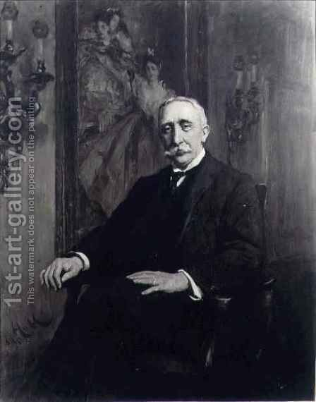 Portrait of Sir Carl Meyer 1851-1922 by Sir Hubert von Herkomer - Reproduction Oil Painting