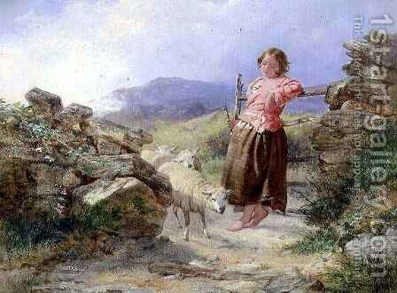 The Little Shepherdess by Isaac Henzell - Reproduction Oil Painting