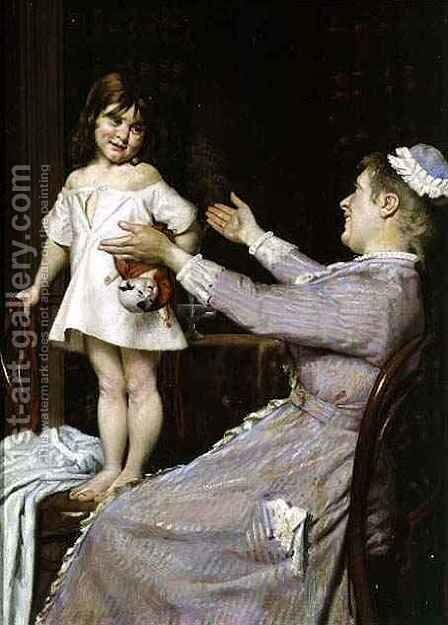 Little Girl with a Doll and Her Nurse by Christian Pram Henningsen - Reproduction Oil Painting