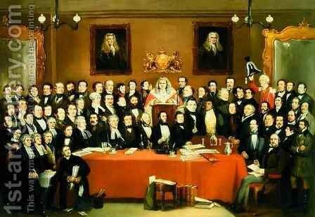 The Judge And Jury Society In The Cider Cellar by Archibald Henning - Reproduction Oil Painting