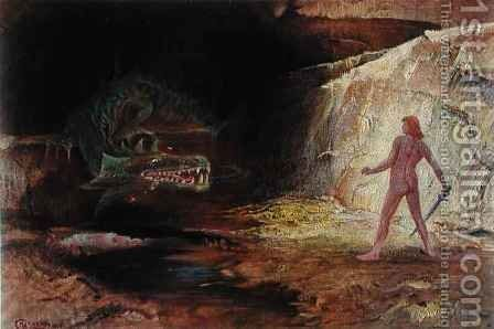 Siegfried and Fafner by Hermann Hendrich - Reproduction Oil Painting