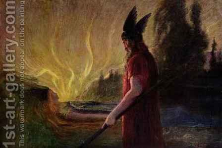 As the flames rise Odin leaves by Hermann Hendrich - Reproduction Oil Painting