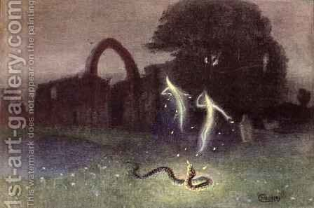 Will o the wisp and Snake by Hermann Hendrich - Reproduction Oil Painting