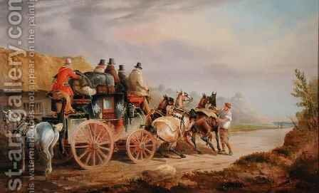 Mail Coaches on the Road The Quicksilver Devonport London Royal Mail about to Start with a New Team by Charles Cooper Henderson - Reproduction Oil Painting