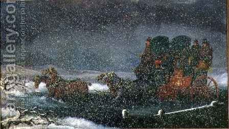 A Stagecoach Fording a Stream in a Snowstorm by Charles Cooper Henderson - Reproduction Oil Painting