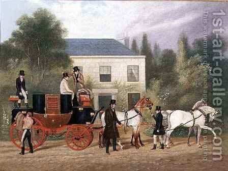 The Stage Coach Preparing to Depart by Charles Cooper Henderson - Reproduction Oil Painting