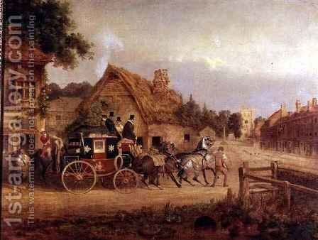 York to London stage coach setting off by Charles Cooper Henderson - Reproduction Oil Painting
