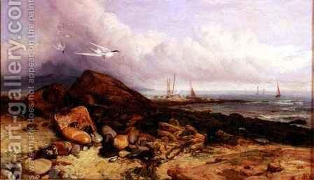 Shore Scene with Fishing Boat and Terns by Charles Napier Hemy - Reproduction Oil Painting
