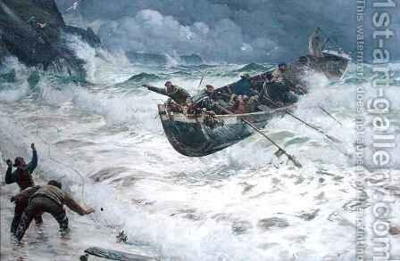 How the Boat Came Home by Charles Napier Hemy - Reproduction Oil Painting