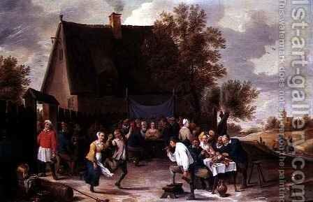 Villagers Celebrating a Wedding Feast Outside a Country Tavern by Matheus van Helmont - Reproduction Oil Painting