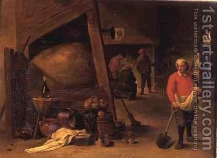 A peasant leaning on a spade beside a cluster of pots and and pans in an inn beyond three figures gathered round a fire place by Matheus van Helmont - Reproduction Oil Painting