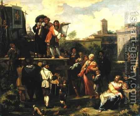 Travelling Actors by Dirk-Theodor Helmbrecker - Reproduction Oil Painting