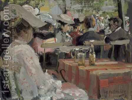 A Garden Restaurant by August Heitmuller - Reproduction Oil Painting
