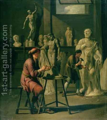 Interior of a Sculptors Studio by Johann Heiss - Reproduction Oil Painting