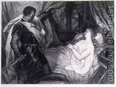 Othello and Desdemonda by J.M.F. Heinrich - Reproduction Oil Painting