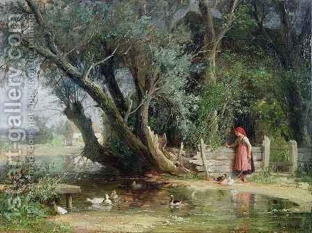 The Duck Pond by Eduard Heinel - Reproduction Oil Painting