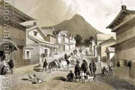 Street in Hakodadi from Narrative of the Expedition of an American Squadron to the China Seas and Japan by (after) Heine, Wilhelm - Reproduction Oil Painting