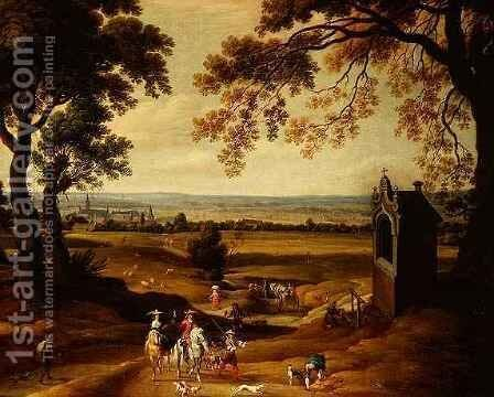 Landscape with Brussels in the distance by Theodore van Heil - Reproduction Oil Painting