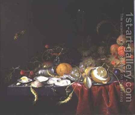 Still life with oysters fruit and ears of corn on a stone ledge by Jan Jansz de Heem - Reproduction Oil Painting